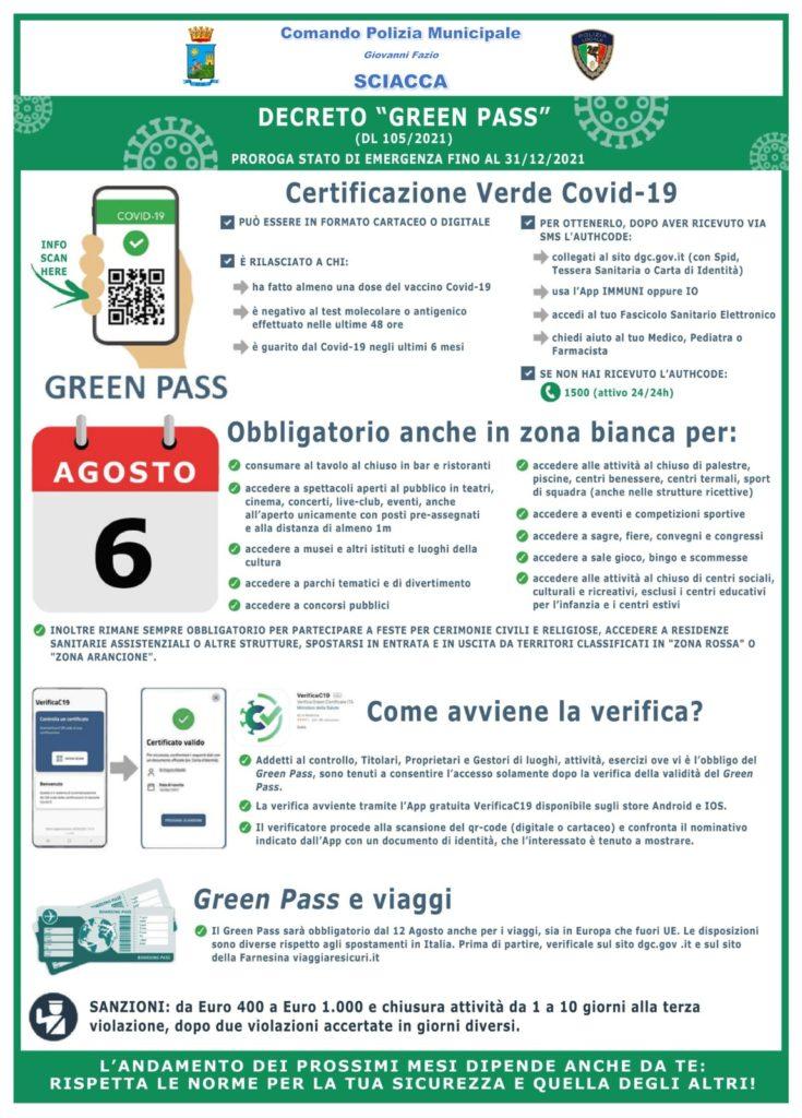 """DECRETO """"GREEN PASS"""" D.L. 105/2021"""