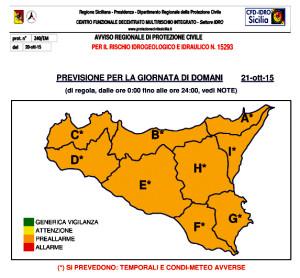 protezione civile avviso meteo ARANCIONE del 20 ottobre 2015
