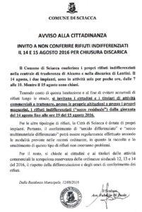 avviso conferimento rifiuti 14 e 15 agosto 2016