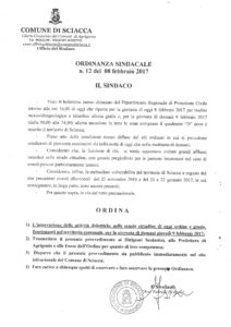 ordinanza sospensione lezioni 9 febbraio 2017